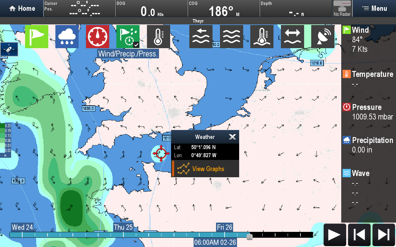 Cursor Point Weather Data | Raymarine fra FLIR